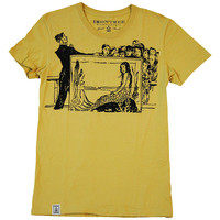 Japanese Mermaid In Aquarium: Women'S Organic Fine Jersey Short Sleeve T-Shirt In Mustard - Irontree Clothing