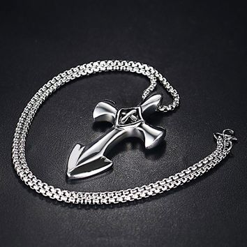 Men's Beautifully Crafted Anchor Cross Pendant Necklace Stainless Steel