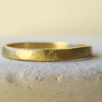 Fairtrade 18k Gold Men's Wedding Band, Hand Beaten.  Also Available in White Gold, Rose Gold and Platinum