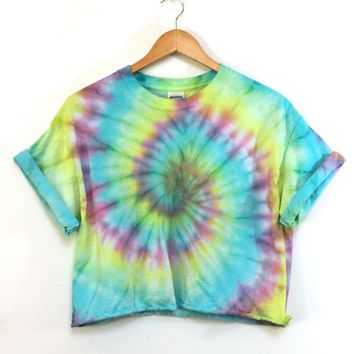 ONE OF A KIND Tie Dye Cropped Unisex Tee #1 Size Large
