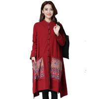 Womens Autumn 2016 New Arrival Ethnic Cotton Linen Trench Coat Outerwear Plus Size Loose Overcoat Blend Coats