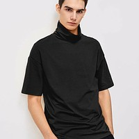 Fashion Casual Men Turtleneck Half Sleeve Tee