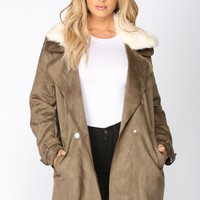 Lisa Suede Jacket - Olive
