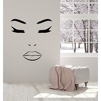 Vinyl Wall Decal Makeup Beauty Female Face Lips Eyelashes Spa Cosmetic Stickers Mural (g1186)