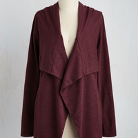 Mid-length Chill You Be Mine? Cardigan in Burgundy