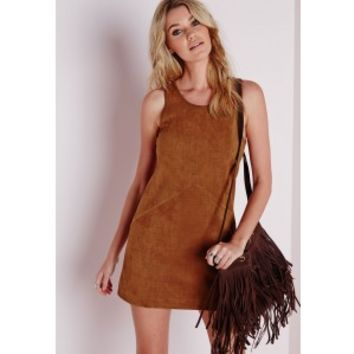 Faux Suede Sleeveless Bodycon Vest Dress Tan - Dresses - Bodycon Dresses - Missguided