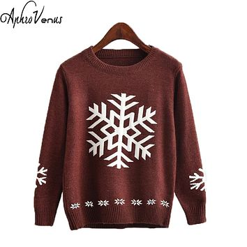 Pull Femme 2017 Autumn O-neck Women Sweaters Pullover Long Sleeved Knitted Snowflake Jacquard Christmas Sweater Women Poncho