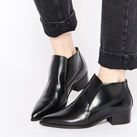 Bronx Stripe Patent Pointed Toe Ankle Boots at asos.com