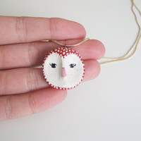 Owl head pendant- animal totem- woodland owl- cute pet