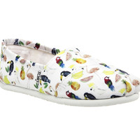 Toms Seasonal Classic Slip Ons White Canvas Printed Parrots - Flats