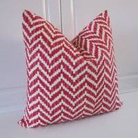 Geometric Christmas Pillow Cover, Red & White