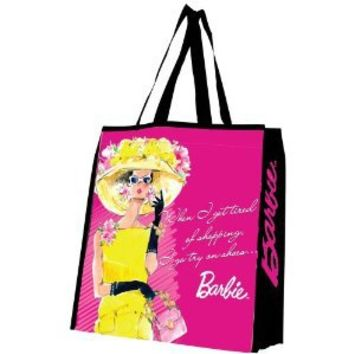 Vandor 95273 Barbie Large Recycled Shopper Tote, Pink, Yellow, Black, and White