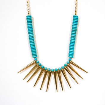 Turquoise Statement Necklace - Tribal Warrior - Spring Jewelry, gold geometric jewelry