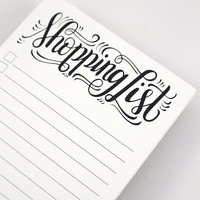 notepad - Shopping list - Hand lettered notepad -  50 tear-off pages