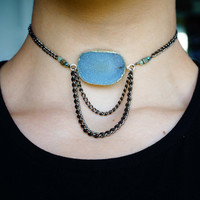 SKY'S THE LIMIT Choker - Trendy Crystal Druzy Necklace Boho Chic Modern Gypsy Jewellery Agate Gemstone Gifts for Teens - Charlie Girl Gems