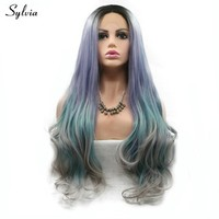Sylvia Natural Wave Heat Resistant Long Hair Black Roots Ombre Purble/Blue green/Gray Mermaid Color Synthetic Lace Frontal Wigs