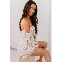 No Second Guessing Striped Off The Shoulder Romper (White/Green Stripe)