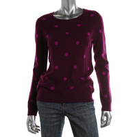 Charter Club Womens Petites Cashmere Polka Dot Pullover Sweater