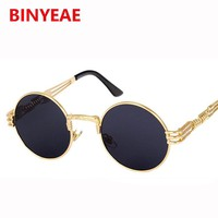 Round Sunglasses Steampunk Men Women 2017 vintage retro Brand Sunglasses steam punk metal frame glasses transparent UV400 oculos