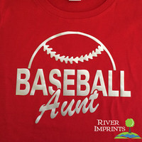 BASEBALL AUNT cursive, shiny foil t-shirt with your choice of color-- fitted, regular, or long sleeve