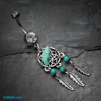 Turquoise Slab Classic Dreamcatcher Belly Button Ring