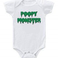NEW Cute Funny Baby Bodysuits Onesuit Poopy Monster One Piece