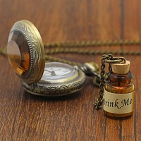 Small Pocket Watch Alice in Wonderland Drink Me Pendant with Bottle Birthday Gift P339