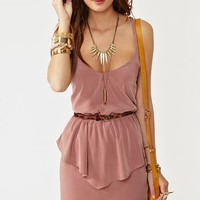 Twisted Peplum Dress - Dusty Rose in Clothes at Nasty Gal