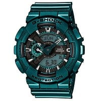 Casio G-Shock Mens - Green Case & Strap - Analog/ Digital - World Time