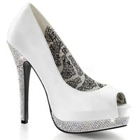 White Peep Toe Pump Featuring Rhinestone Lower Platform