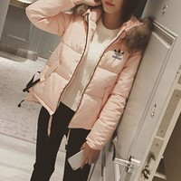 DCCK Adidas' Women Fashion Cardigan Fur Collar Hooded Long Sleeve Cotton-padded Clothes Jacket Down Coat