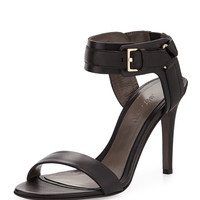Leather Ankle-Cuff Sandal, Black