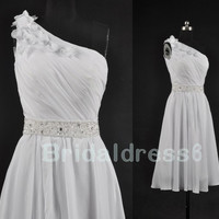 Simple Beads White One-Shoulder Sheer Strapless Flower A-Line Short Bridesmaid Dress,Knee Length Chiffon Evening Party Prom Homecoming Dress