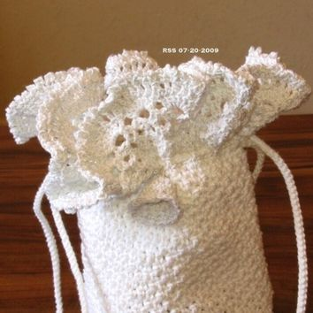 White and Silver Crocheted Lace Drawstring Bag - Crocheted Cord Handle