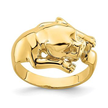 14K Yellow Gold Polished Jungle Cat Ring