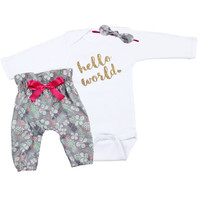 Baby Newborn take home outfit | Bright Hawaiian Flowers Hello World Outfit | High Waisted Pants and Knotted Headband