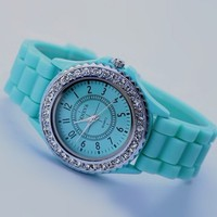 Unique Rhinestone Pave Candy Color Silicone Band Watch