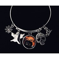Scary Halloween Jewelry Adjustable Bracelet Silver Expandable Charm Bangle One Size Fits All Gift Witch Ghost Sugar Skull Pumpkin Spider