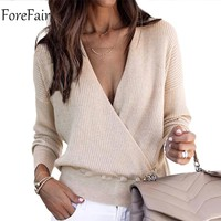 Forefair V Neck Sweaters Women 2018 Autumn Long Sleeve Tops Female Casual Jumper Winter Streetwear Sexy Sweater