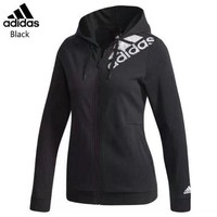 ADIDAS trend women's sports and leisure knit hooded jacket