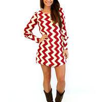 Maroon and White longsleeve dress - Lotus Boutique