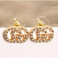 GUCCI Women New fashion letetr more diamond earring accessories Golden