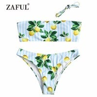 ZAFUL Bandeau Lemon Bikini Swimwear Women Swimsuit Sexy Halter Strapless Lemon Striped Padded Swimsuit biquni Bathing Suit