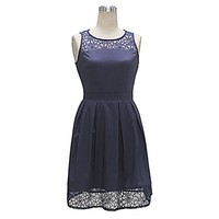 Women's Summer A-Line Party Dress Sleeveless O Neck Lace Patchwork Above Knee Mini Casual Dresses