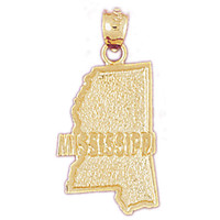 14K GOLD STATE MAP CHARM - MISSISSIPPI #5096