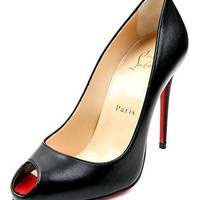 Wiberlux Christian Louboutin Women's Peep Toe Leather High Heels