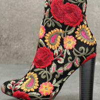 Kupuri Black Embroidered Ankle Booties