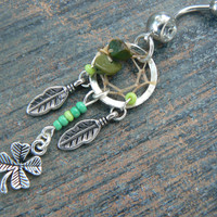 lucky belly ring  Irish dreamcatcher belly ring St.Pattys day  four leaf clover lucky green in tribal fantasy and hipster style