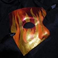 Phantom of the Opera Mask with Red, Orange and Gold Flame Design
