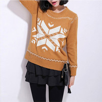 Brown Snowflake Print Crew Neck Knitted Sweater